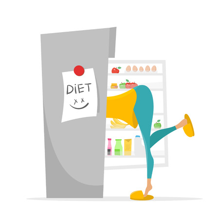 glutton: Vector illustration of girl searching something to eat in the fridge.