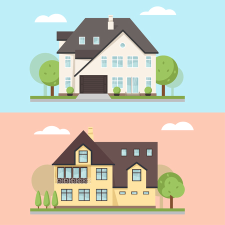luxury home exterior: Vector illustration of two family houses or cottages. Large private cottage for real estate brochures or web icon.
