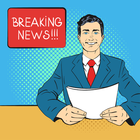 business news: Vector hand drawn pop art illustration of anchorman holding piece of paper in his hands. Concept of breaking news. Retro style. Hand drawn sign. Illustration for print, web. Illustration