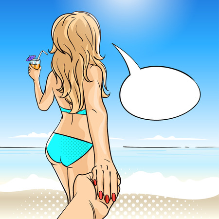 Vector hand drawn pop art illustration of young woman in swimming suit with fruit cocktail. Speech bubble. Follow me to the sea illustration. Background for print, web. Zdjęcie Seryjne - 56506300