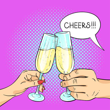 champagne pop: Vector hand drawn pop art illustration of man and woman hands holding glasses of champagne. Retro style. Speech bubble and the word Cheers in it. Hand drawn sign. Illustration for print, web.