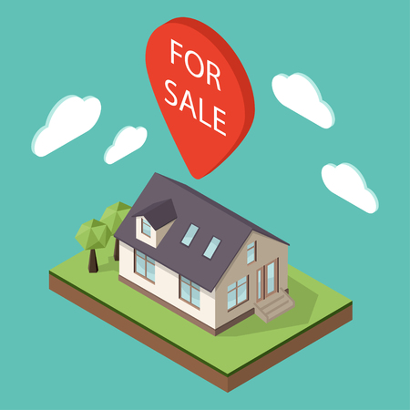 home sale: Vector illustration of isometric large private family cottage or house for real estate brochures or web icon. Map pointer over the house with the words For Sale on it. Sale concept. Illustration