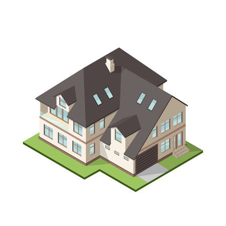 suburban street: Vector illustration of isometric large private cottage or house for real estate brochures or web icon.