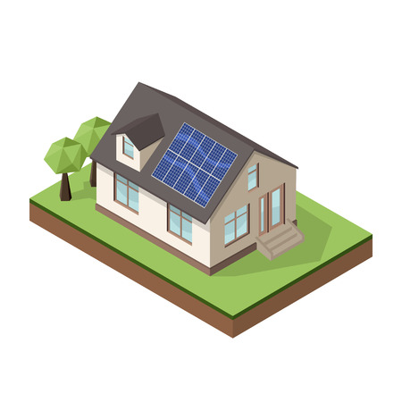 panels: Vector illustration of isometric private cottage or house with solar roof panels for real estate brochures or web icon.