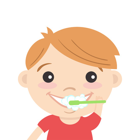Vector illustration of happy cute boy cleaning his teeth with toothpaste and toothbrush. Teeth brushing.