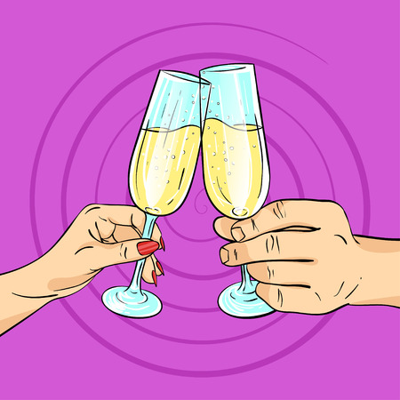 champagne pop: Vector hand drawn pop art illustration of man and woman hands holding glasses of champagne. Retro style. Cheering with glasses. Hand drawn sign. Illustration for print, web. Illustration