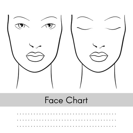 Vector beautiful woman face chart portrait. Female face with open and closed eyes. Blank template for artist makeup.  イラスト・ベクター素材