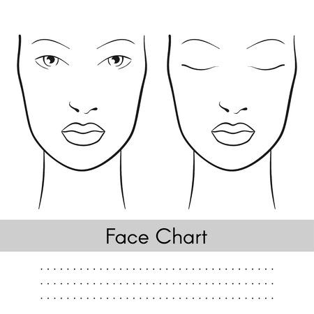 Vector schöne Frau Gesicht Diagramm Porträt. Weibliches Gesicht mit offenen und geschlossenen Augen. Leere Vorlage für Künstler Make-up.