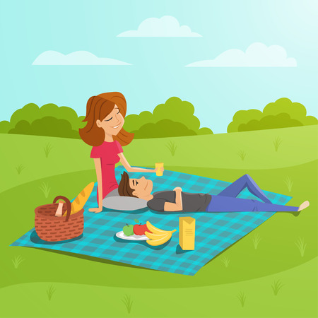 family park: Vector illustration of young happy couple having picnic in the park.