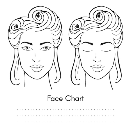 Vector beautiful woman face chart portrait. Female face with open and closed eyes. Blank template for artist makeup.