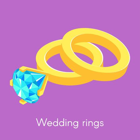 diamond rings: Vector illustration of two isometric wedding rings. Ring with diamond.