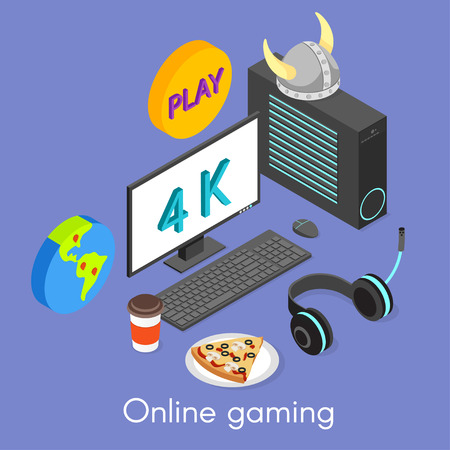 gaming: Vector isometric concept for online gaming.