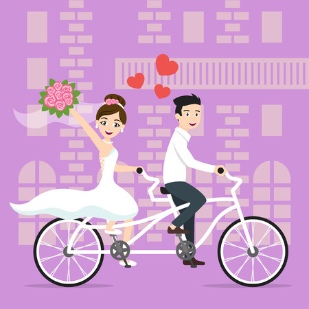 duo: Vector illustration of young happy newlyweds bride and groom riding on bicycle. Tandem Duo bicycle. Honeymoon. Vector print for card or poster design.