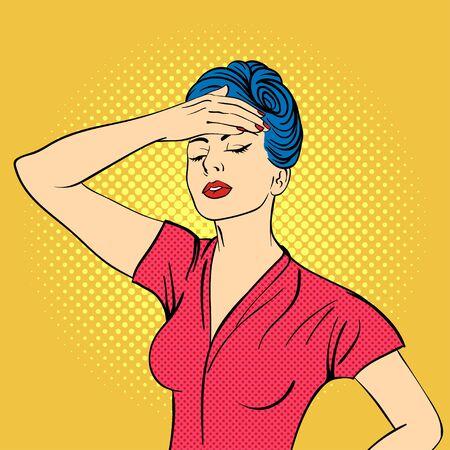 woman headache: Vector hand drawn pop art illustration of young woman. Concept for headache. Retro style. Hand drawn sign. Illustration for print, web.