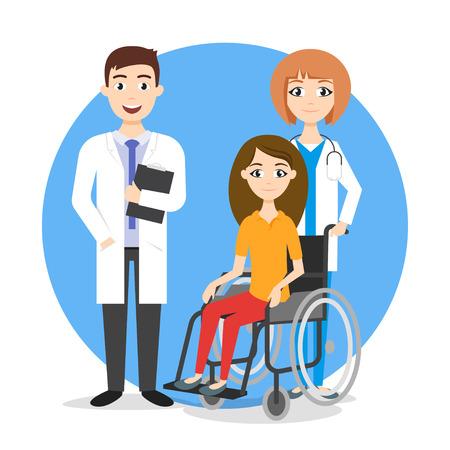Vector illustratie van gehandicapte in de rolstoel en artsen. Behandeling voor gehandicapten. Rolstoel patiënt.