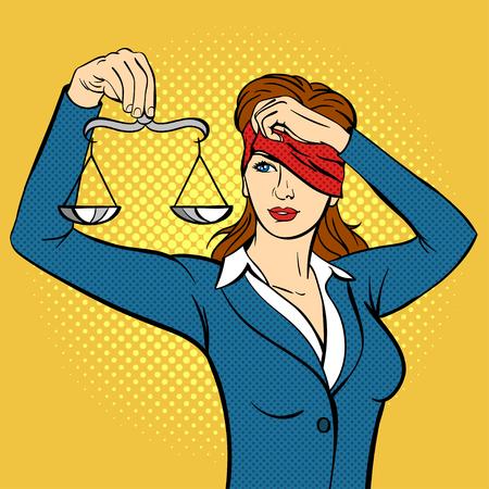 Vector hand getrokken pop art illustratie van de jonge vrouw met de weegschaal in haar hand. Concept voor Themis en de wet. Retro stijl. getrokken teken Hand. Illustratie voor print, web. Vector Illustratie