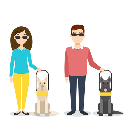 Vector illustration of blind person. Disabled man and woman with guide dogs.