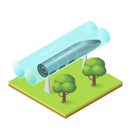 Vector illustration of isometric futuristic transport. High speed transportation of passengers and goods in tubes.