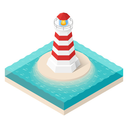 searchlight: Vector illustration of isometric lighthouse. Searchlight tower in ocean.