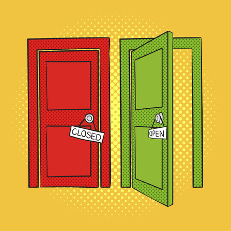 art book: Vector hand drawn pop art illustration of doors. Open and closed door. Retro style. Hand drawn sign. Illustration for print, web.