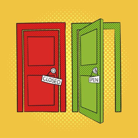 Geschlossene tür zeichnung  Vector Hand Popkunstillustration Der Türen Gezeichnet. Offene Und ...