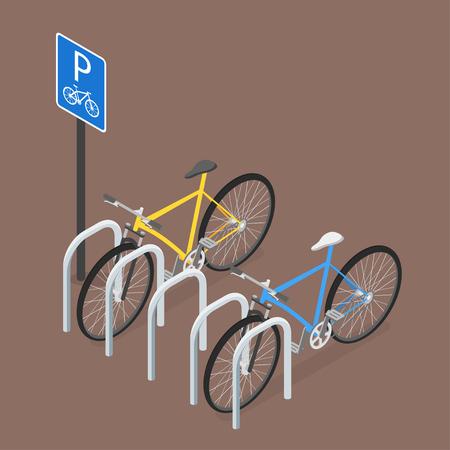 Isometrische Fietsparkeren. Vlakke stijl, vector, verkeersbord Stockfoto - 58895903