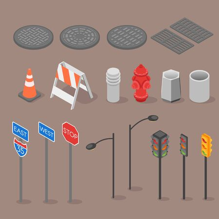 urn: Isometric set icon of city objects. Isometric elements. Traffic light, urn, road sign, sewerage, lamp post, urban, city, 3d, vector.