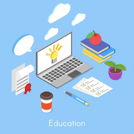computer education: Vector isometric concept for education and self-development. Computer and books.