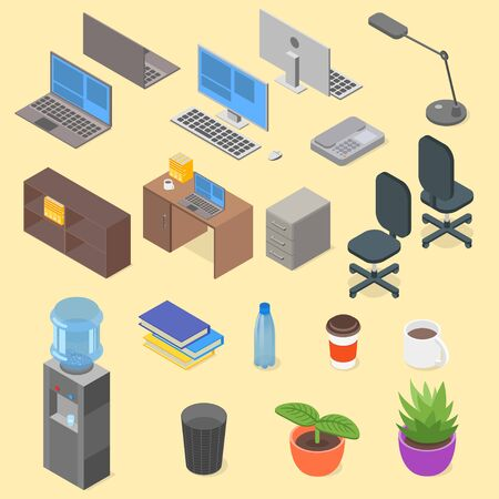 telephone box: Isometric set of office object. Laptop, 3d, lamp, computer, telephone, table, chair, water, coffee, box, cup, plant, folder, vector.