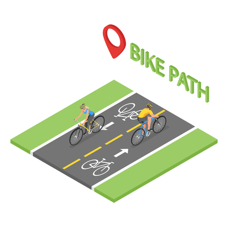 Isometric people on bicycle ride on the bicycle lane. Bike path. Flat style, fitness, sport, man, woman.