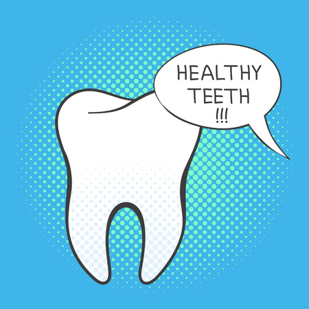 Vector hand drawn pop art illustration of white tooth. Retro style. Hand drawn sign. Illustration for print, web. Speech bubble with the words Healthy teeth in it.