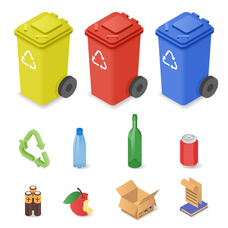 sorting: Vector isometric set of waste sorting cans. Icons for different kinds of waste: plastic, glass, batteries. Colorful waste cans.