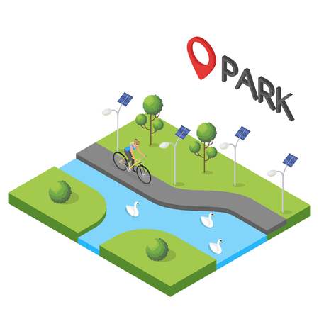Vector isometric illustration of park. Bicycle, tree, swan, fitness, people, sport.