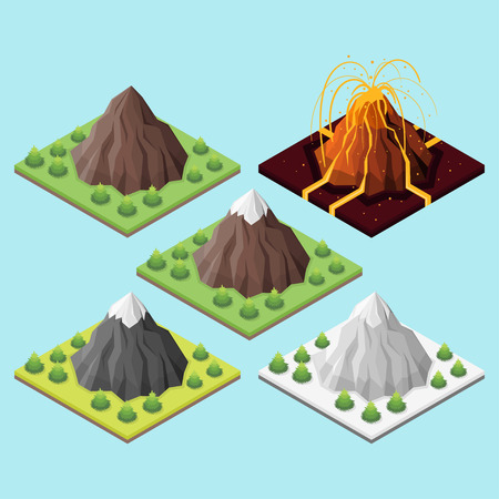 Isometric 3d set of mountains and volcano. Mountains in seasons.