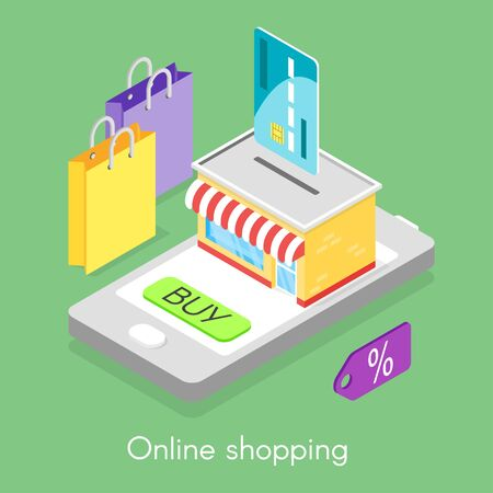 technology symbols metaphors: Vector isometric concept for online shopping. Credit card and smartphone. Illustration of shop.