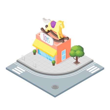 toy shop: Isometric vector 3d illustration of toy shop. City landscape. Toy horse.