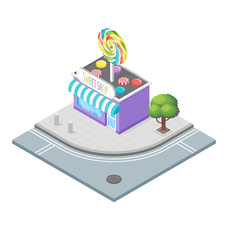 candy store: Isometric 3d vector illustration of candy store.