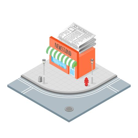 newsstand: Isometric 3d vector illustration of newsstand. Illustration