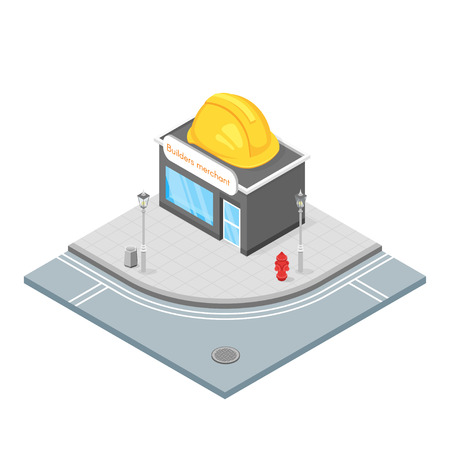 hardware store: Isometric 3d vector illustration of hardware store. Builders shop that sells things that you need for building. City landscape.