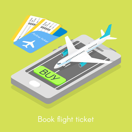 Isometric 3d vector illustration of online purchase tickets. Concept of book flight ticket. Vettoriali
