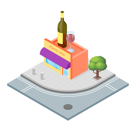 awnings windows: Isometric 3d vector illustration of wine shop, that sells alcoholic drinks.City landscape. Illustration