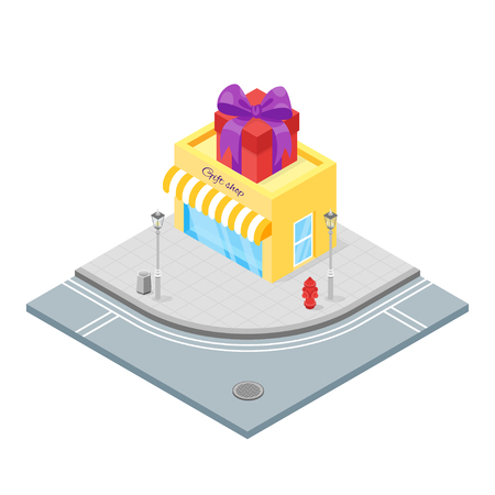 donative: Isometric 3d vector illustration of gift shop. A shop selling things that people like to give and receive as presents. City landscape.