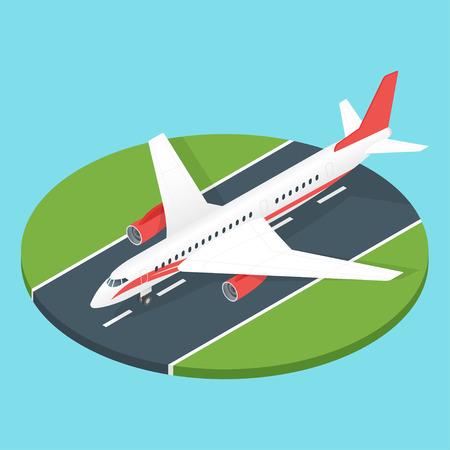 airport runway: Isometric 3d vector illustration of plane on the airport runway. Illustration
