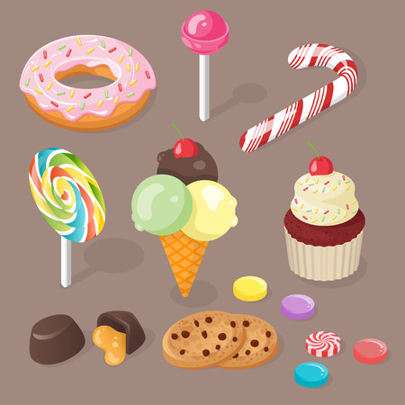 confection: Isometric vector 3d illustration of sweets. Set of confection.
