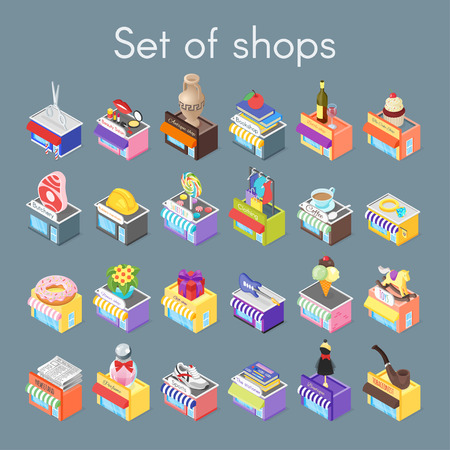 Isometric vector 3d illustration of shops. Set of city objects.