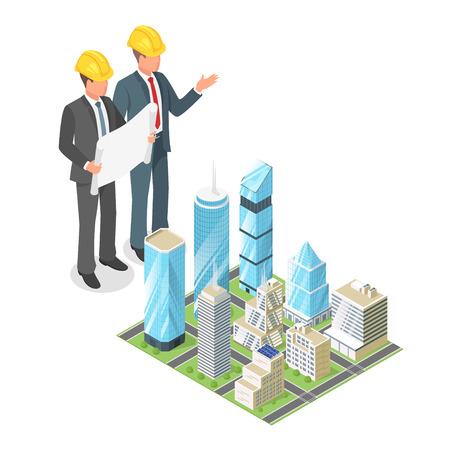 Vector isometrische 3D-Konzept der Geschäftsmann oder Ingenieur im harten Hut mit Plan der Stadt mit Wolkenkratzern