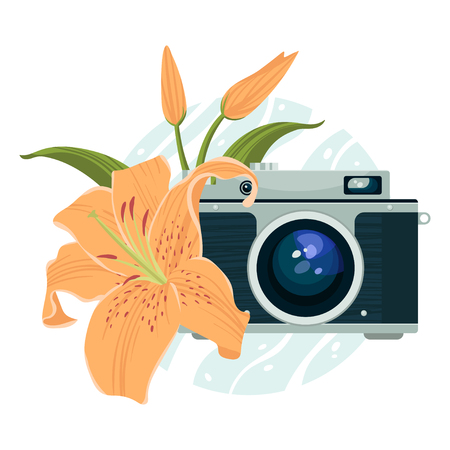 pix: Vector illustration of vintage camera and lily.