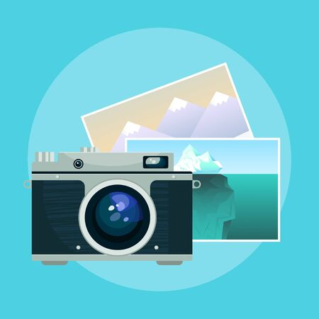 Vector illustration of vintage old camera and pix. Illustration