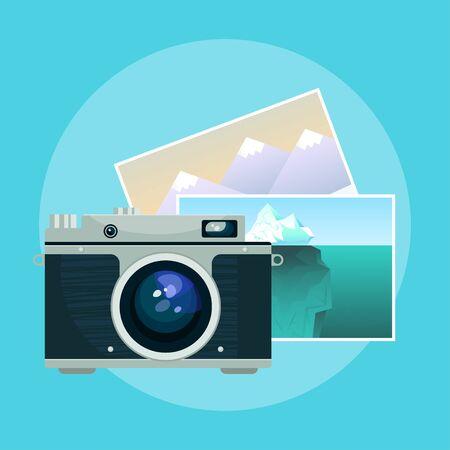 pix: Vector illustration of vintage old camera and pix. Illustration