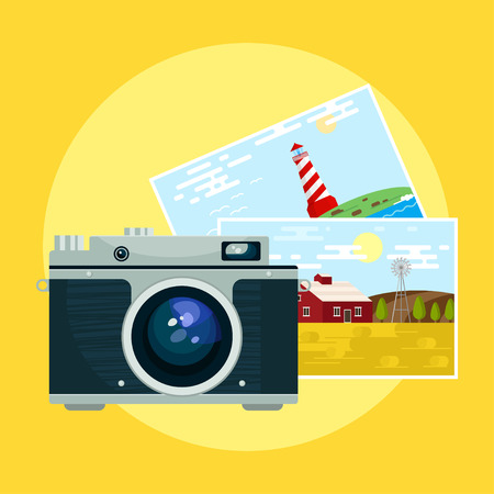 pix: Vector illustration of vintage camera and pix.